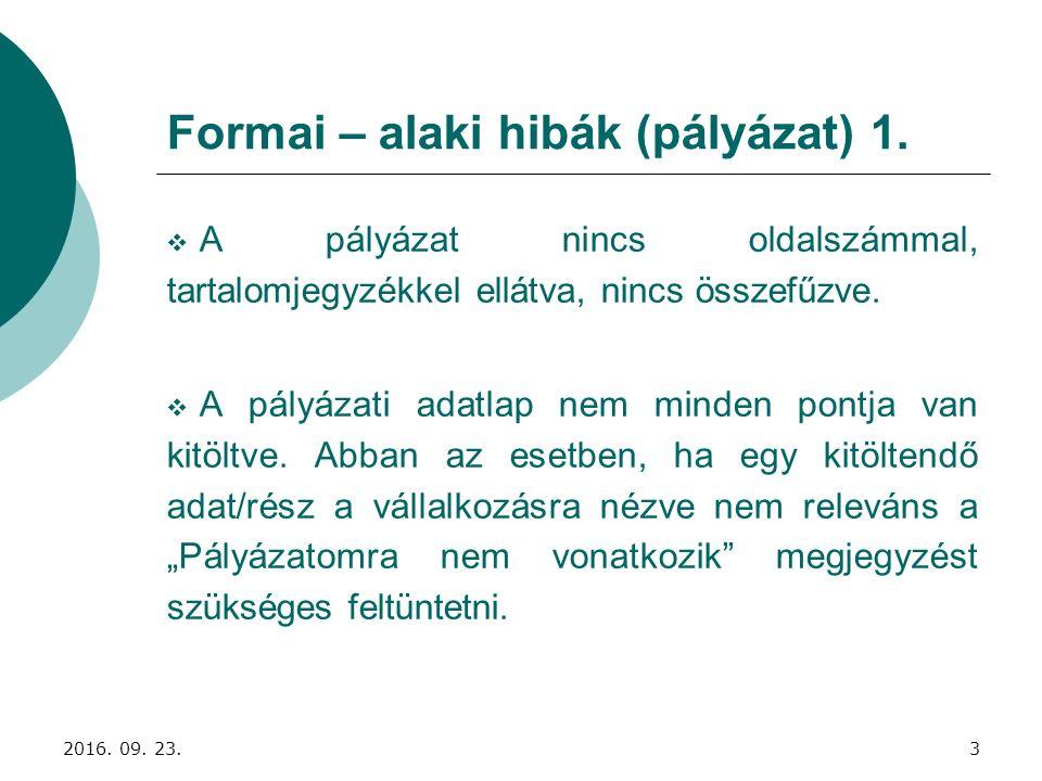 Formai – alaki hibák (pályázat) 1.  A pályázat nincs oldalszámmal, tartalomjegyzékkel ellátva, nincs összefűzve.  A pályázati adatlap nem minden pon