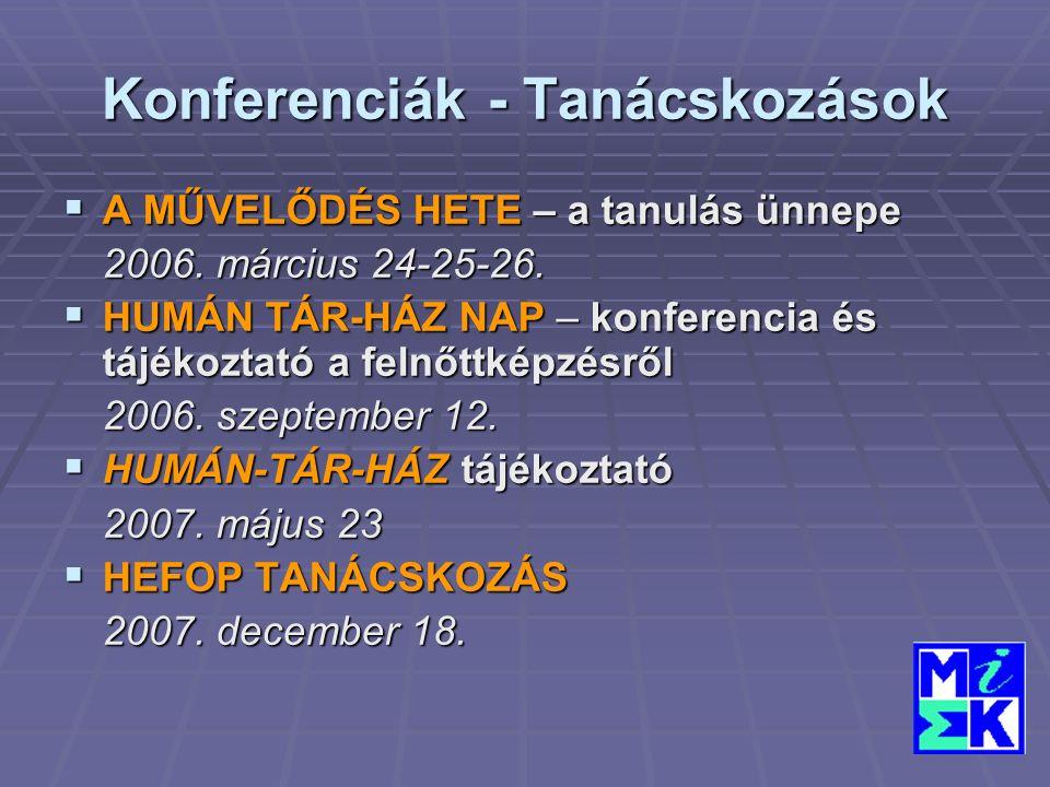 Konferenciák - Tanácskozások  A MŰVELŐDÉS HETE – a tanulás ünnepe 2006.