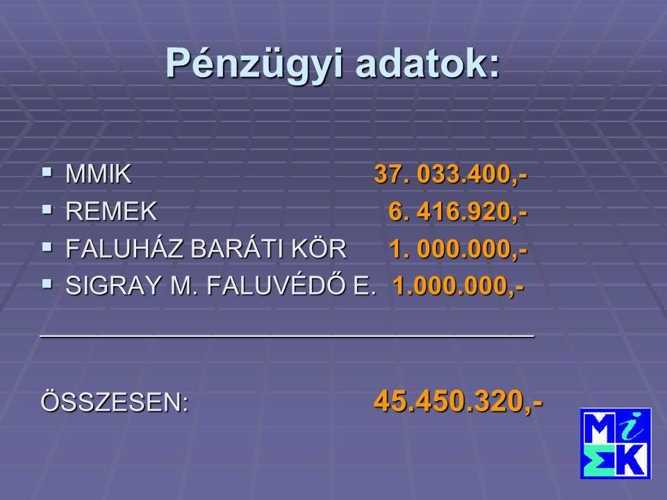Pénzügyi adatok:  MMIK37. 033.400,-  REMEK 6. 416.920,-  FALUHÁZ BARÁTI KÖR 1.