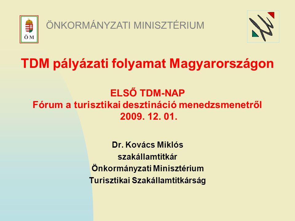 TDM pályázati folyamat Magyarországon ELSŐ TDM-NAP Fórum a turisztikai desztináció menedzsmenetről 2009.
