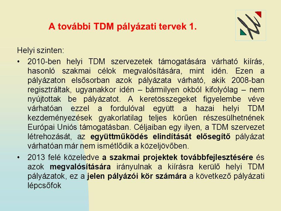 A további TDM pályázati tervek 1. Helyi szinten: 2010-ben helyi TDM szervezetek támogatására várható kiírás, hasonló szakmai célok megvalósítására, mi