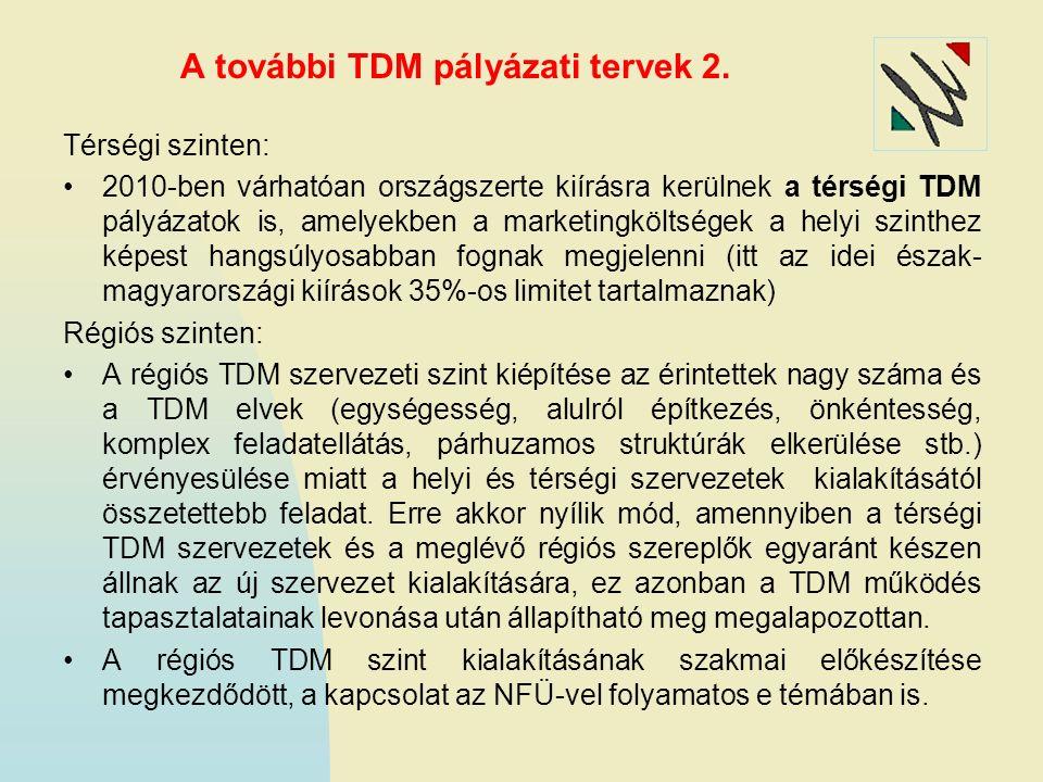 A további TDM pályázati tervek 2. Térségi szinten: 2010-ben várhatóan országszerte kiírásra kerülnek a térségi TDM pályázatok is, amelyekben a marketi