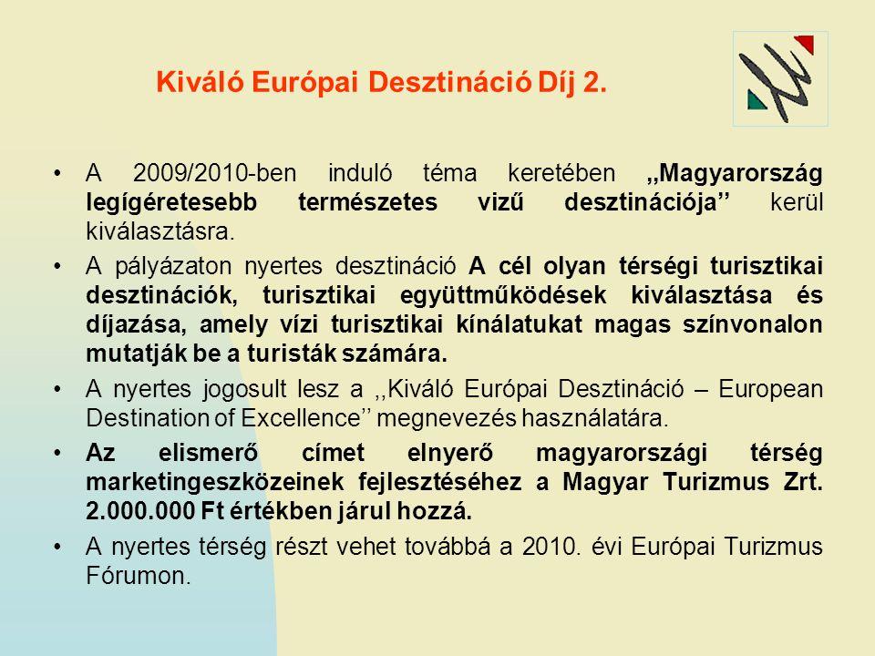 Kiváló Európai Desztináció Díj 2. A 2009/2010-ben induló téma keretében,,Magyarország legígéretesebb természetes vizű desztinációja'' kerül kiválasztá