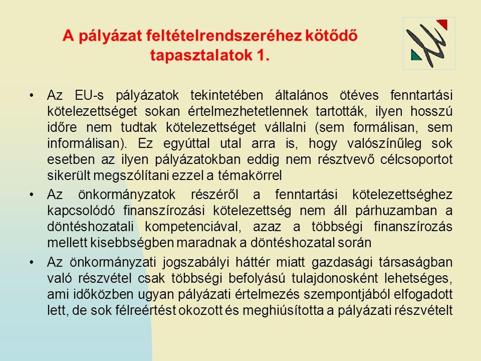 A pályázat feltételrendszeréhez kötődő tapasztalatok 1. Az EU-s pályázatok tekintetében általános ötéves fenntartási kötelezettséget sokan értelmezhet