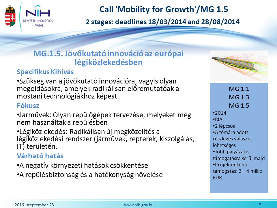 2016. szeptember 23. 5www.nih.gov.hu Call 'Mobility for Growth'/MG 1.5 2 stages: deadlines 18/03/2014 and 28/08/2014 MG.1.5. Jövőkutató innováció az e
