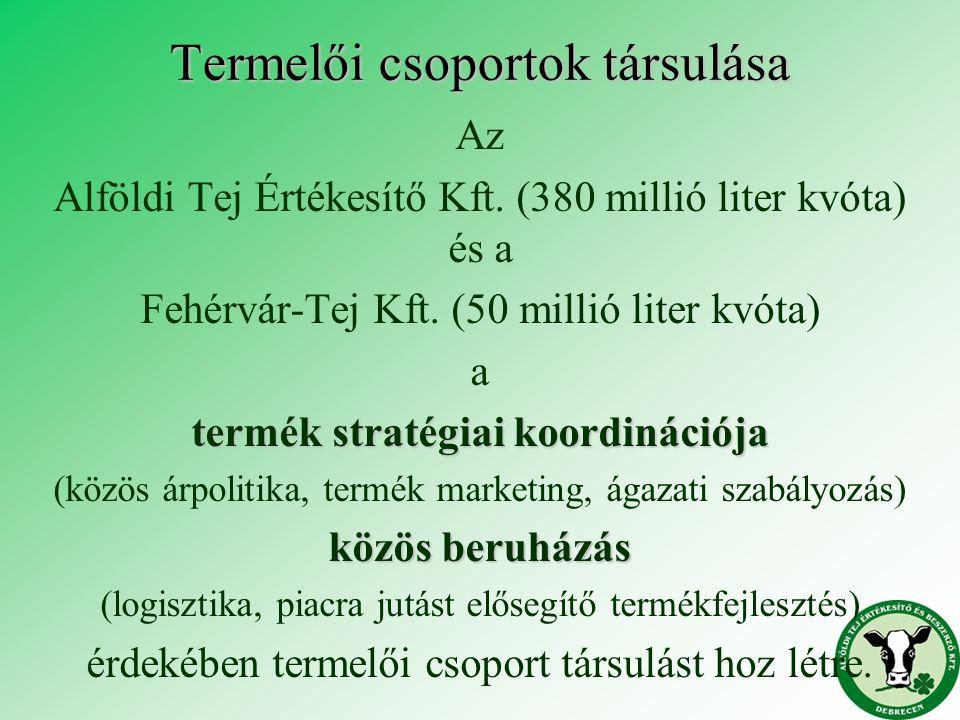 Termelői csoportok társulása Az Alföldi Tej Értékesítő Kft. (380 millió liter kvóta) és a Fehérvár-Tej Kft. (50 millió liter kvóta) a termék stratégia