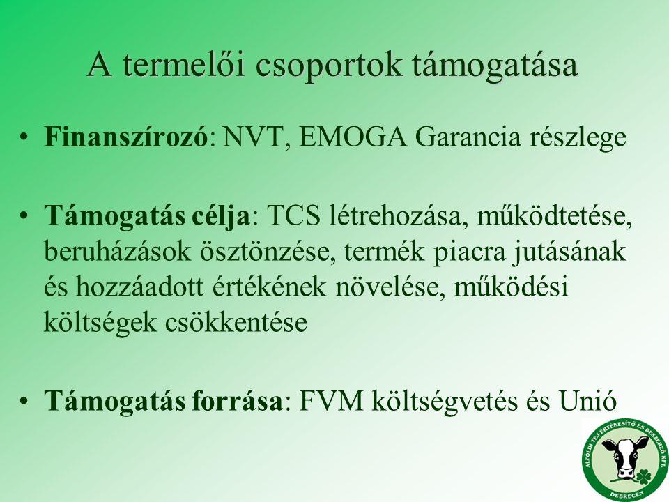 A termelői csoportok támogatása Finanszírozó: NVT, EMOGA Garancia részlege Támogatás célja: TCS létrehozása, működtetése, beruházások ösztönzése, term