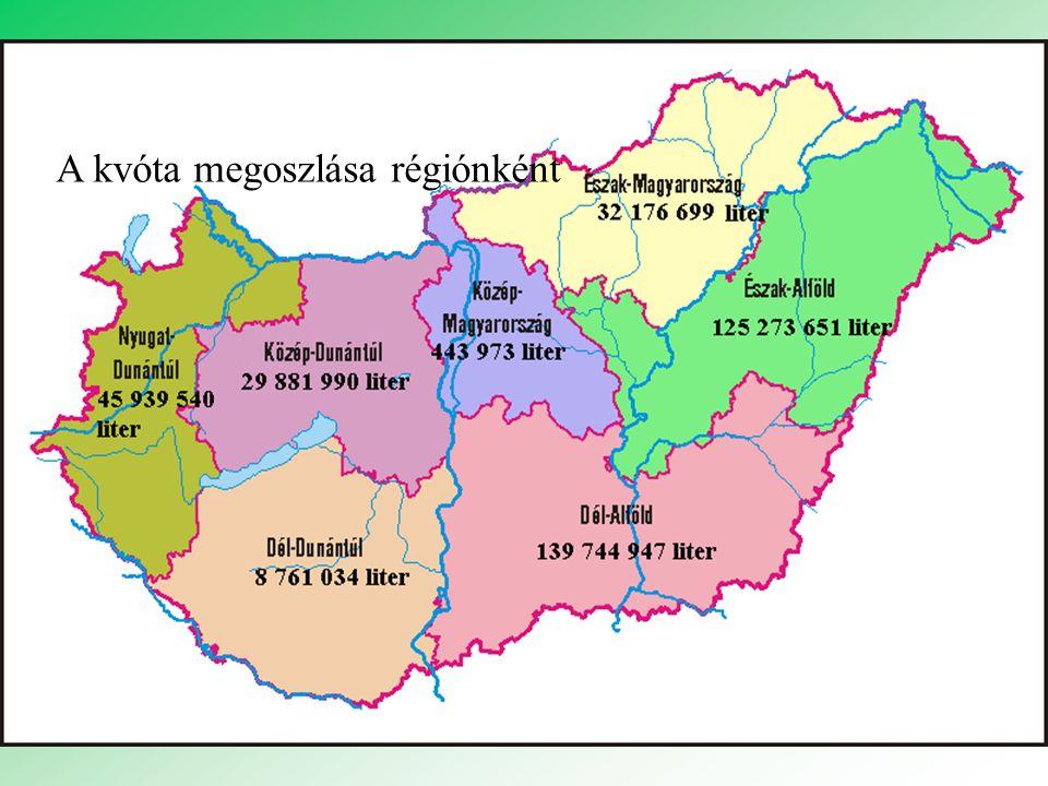 A kvóta megoszlása régiónként