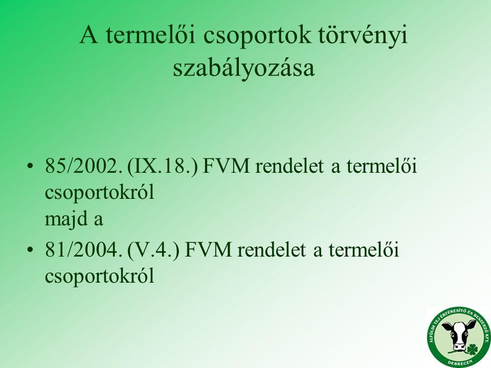 A termelői csoportok törvényi szabályozása 85/2002. (IX.18.) FVM rendelet a termelői csoportokról majd a 81/2004. (V.4.) FVM rendelet a termelői csopo