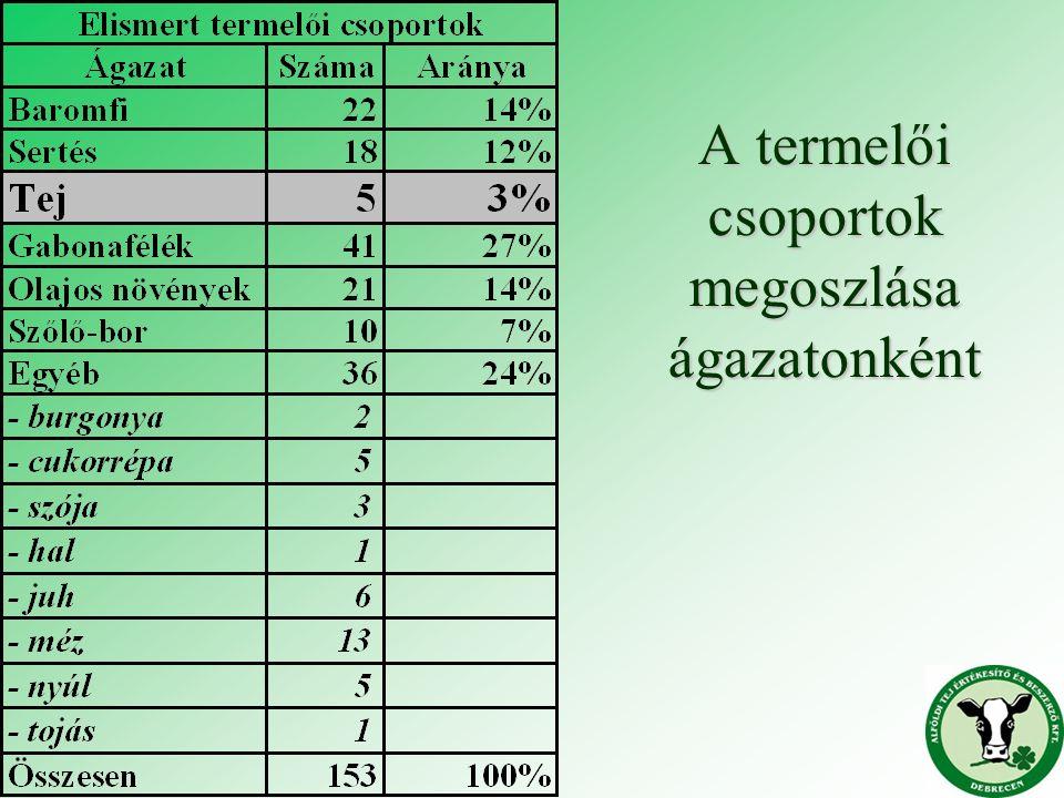 A termelői csoportok megoszlása ágazatonként