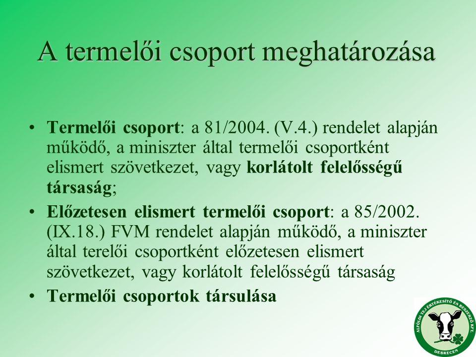 A termelői csoport meghatározása Termelői csoport: a 81/2004. (V.4.) rendelet alapján működő, a miniszter által termelői csoportként elismert szövetke