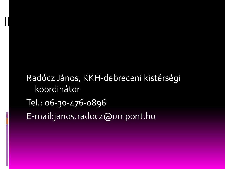 Radócz János, KKH-debreceni kistérségi koordinátor Tel.: 06-30-476-0896 E-mail:janos.radocz@umpont.hu