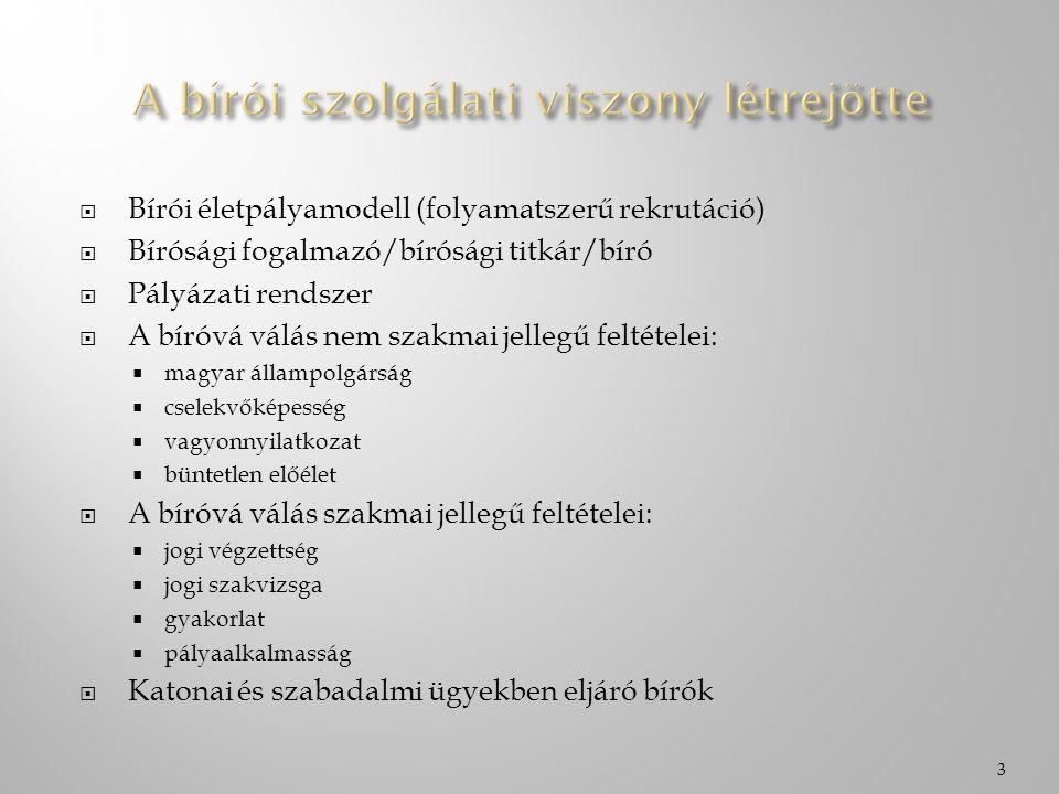 Bírói életpályamodell (folyamatszerű rekrutáció)  Bírósági fogalmazó/bírósági titkár/bíró  Pályázati rendszer  A bíróvá válás nem szakmai jellegű feltételei:  magyar állampolgárság  cselekvőképesség  vagyonnyilatkozat  büntetlen előélet  A bíróvá válás szakmai jellegű feltételei:  jogi végzettség  jogi szakvizsga  gyakorlat  pályaalkalmasság  Katonai és szabadalmi ügyekben eljáró bírók 3