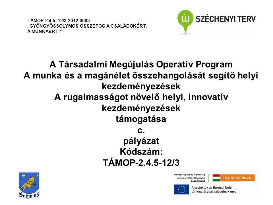 A Társadalmi Megújulás Operatív Program A munka és a magánélet összehangolását segítő helyi kezdeményezések A rugalmasságot növelő helyi, innovatív ke