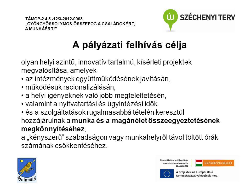 """A pályázati felhívás célja TÁMOP-2.4.5.-12/3-2012-0003 """"GYÖNGYÖSSOLYMOS ÖSSZEFOG A CSALÁDOKÉRT, A MUNKÁÉRT! olyan helyi szintű, innovatív tartalmú, kísérleti projektek megvalósítása, amelyek az intézmények együttműködésének javításán, működésük racionalizálásán, a helyi igényeknek való jobb megfeleltetésén, valamint a nyitvatartási és ügyintézési idők és a szolgáltatások rugalmasabbá tételén keresztül hozzájárulnak a munka és a magánélet összeegyeztetésének megkönnyítéséhez, a """"kényszerű szabadságon vagy munkahelyről távol töltött órák számának csökkentéséhez."""