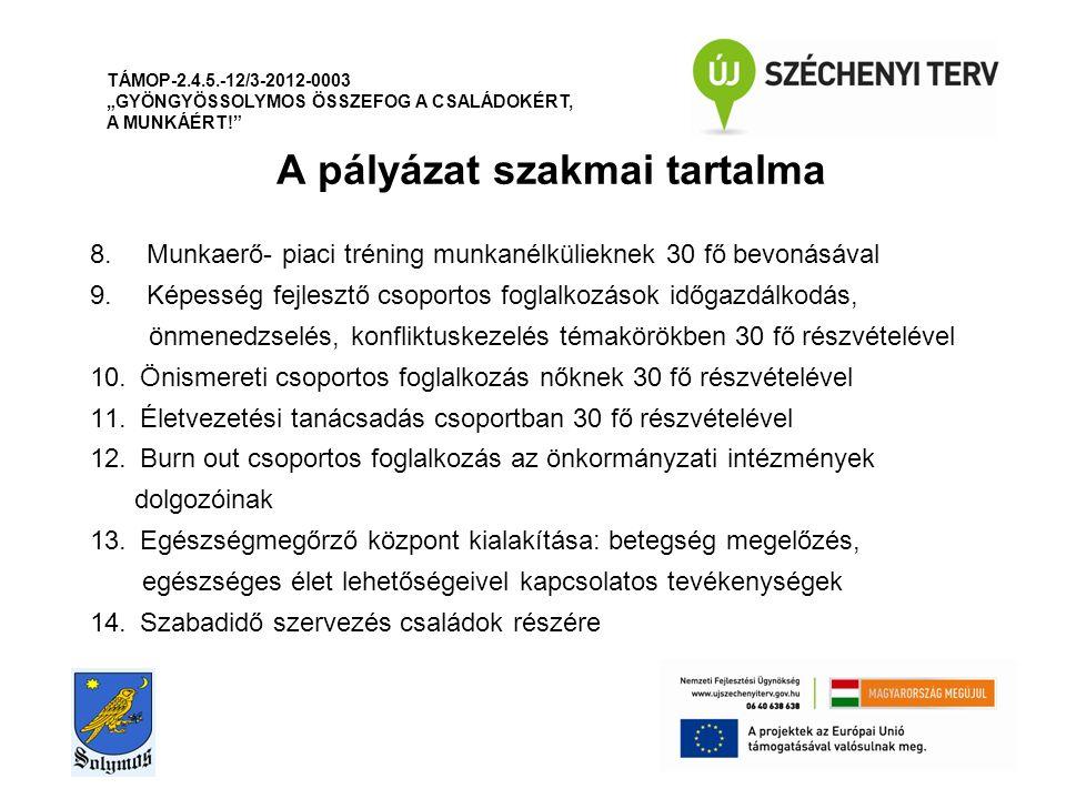 """A pályázat szakmai tartalma TÁMOP-2.4.5.-12/3-2012-0003 """"GYÖNGYÖSSOLYMOS ÖSSZEFOG A CSALÁDOKÉRT, A MUNKÁÉRT! 8."""