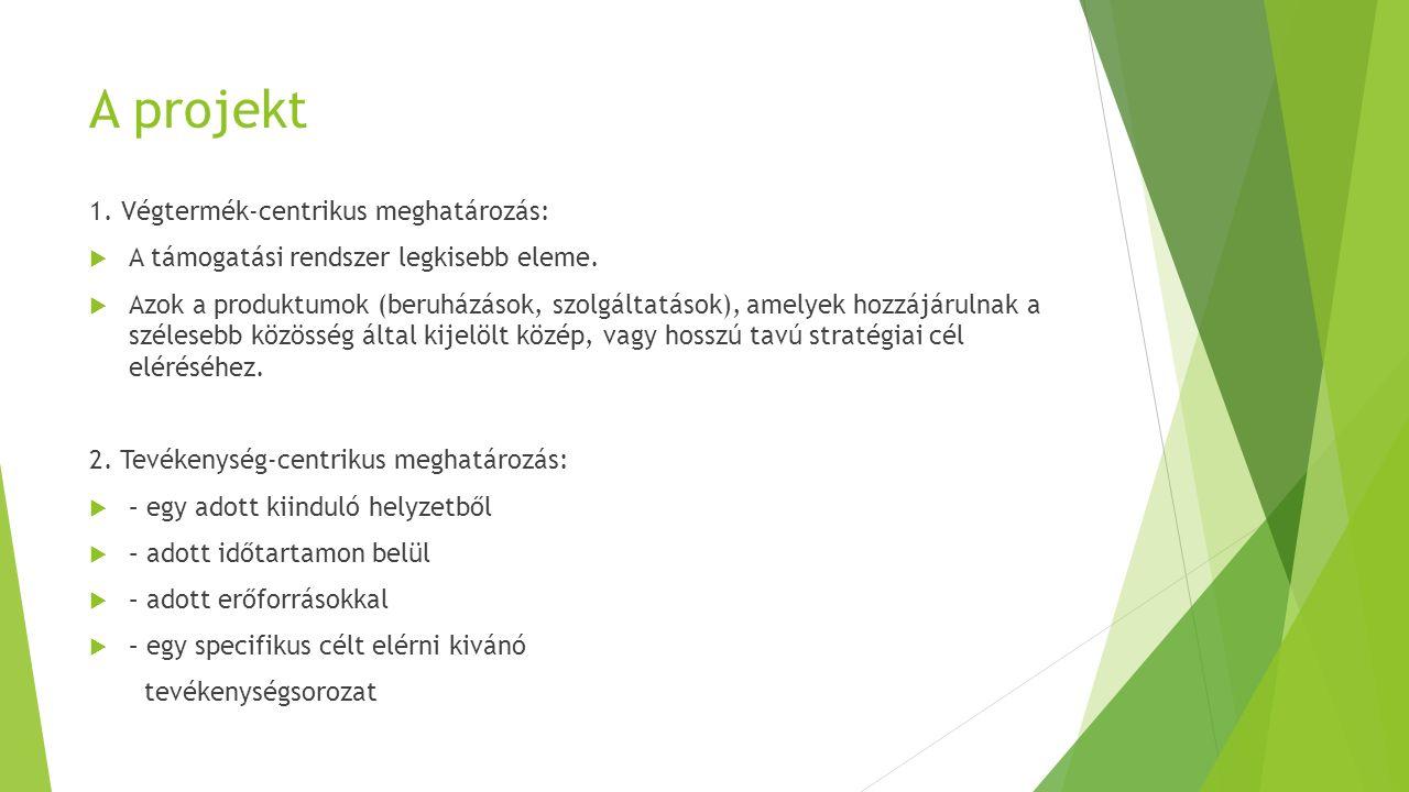 A projekt 1. Végtermék-centrikus meghatározás:  A támogatási rendszer legkisebb eleme.