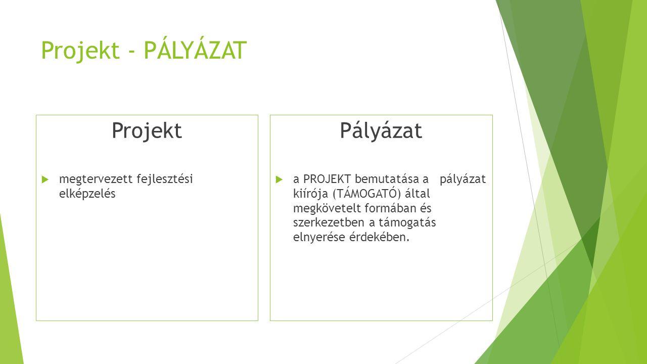 Projekt - PÁLYÁZAT Projekt  megtervezett fejlesztési elképzelés Pályázat  a PROJEKT bemutatása a pályázat kiírója (TÁMOGATÓ) által megkövetelt formában és szerkezetben a támogatás elnyerése érdekében.