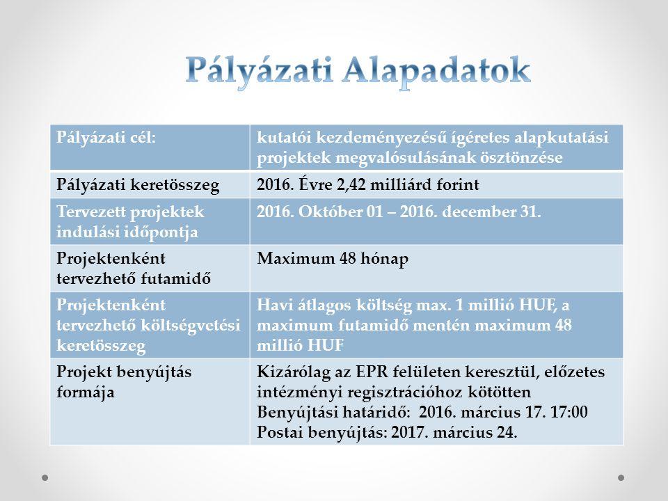 Pályázati cél:kutatói kezdeményezésű ígéretes alapkutatási projektek megvalósulásának ösztönzése Pályázati keretösszeg2016. Évre 2,42 milliárd forint