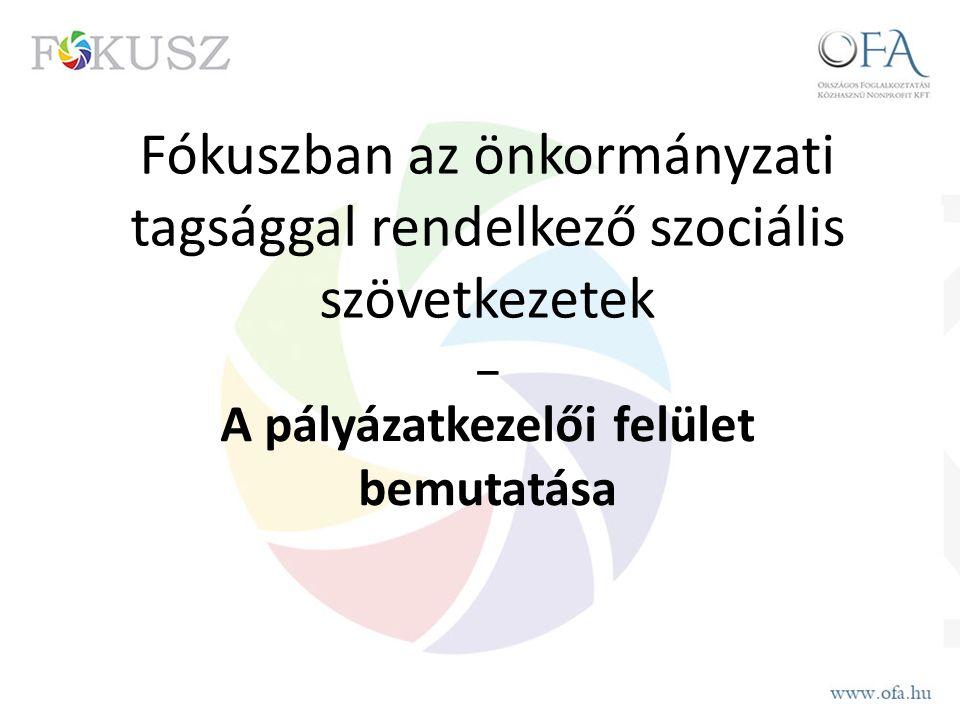 Fókuszban az önkormányzati tagsággal rendelkező szociális szövetkezetek _ A pályázatkezelői felület bemutatása