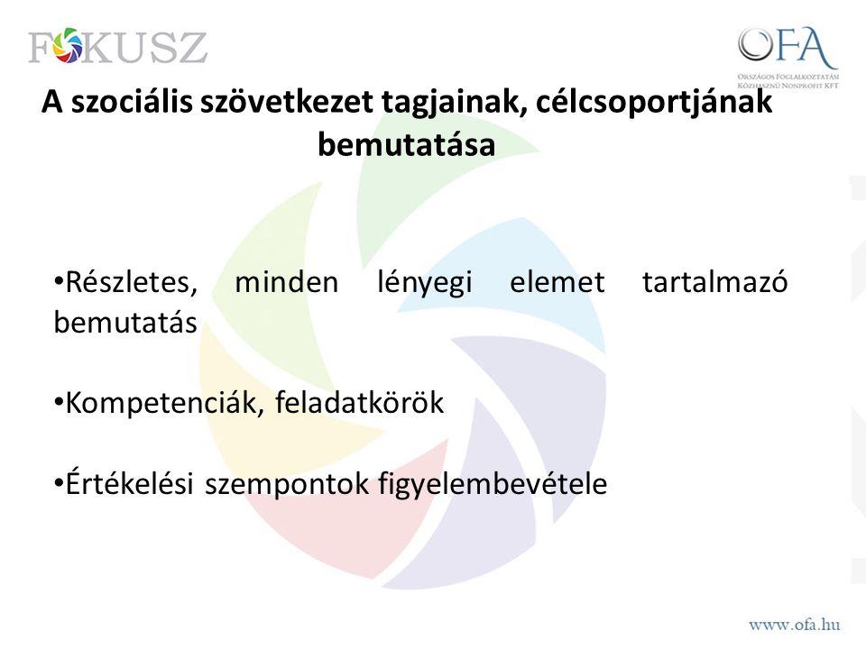 A szociális szövetkezet tagjainak, célcsoportjának bemutatása Részletes, minden lényegi elemet tartalmazó bemutatás Kompetenciák, feladatkörök Értékelési szempontok figyelembevétele