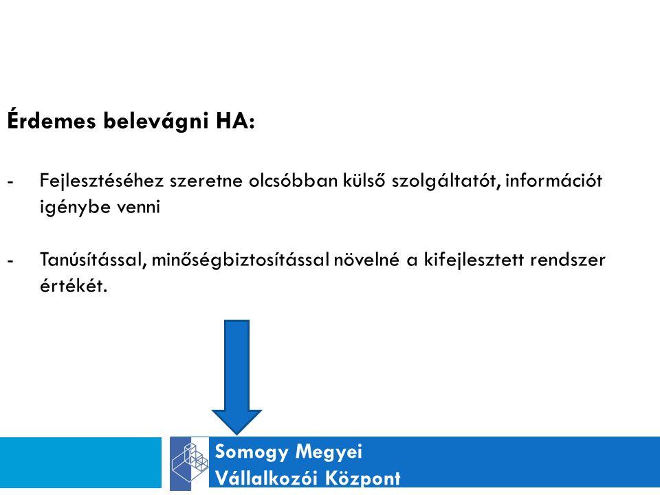 Somogy Megyei Vállalkozói Központ Érdemes belevágni HA: -Fejlesztéséhez szeretne olcsóbban külső szolgáltatót, információt igénybe venni -Tanúsítással, minőségbiztosítással növelné a kifejlesztett rendszer értékét.