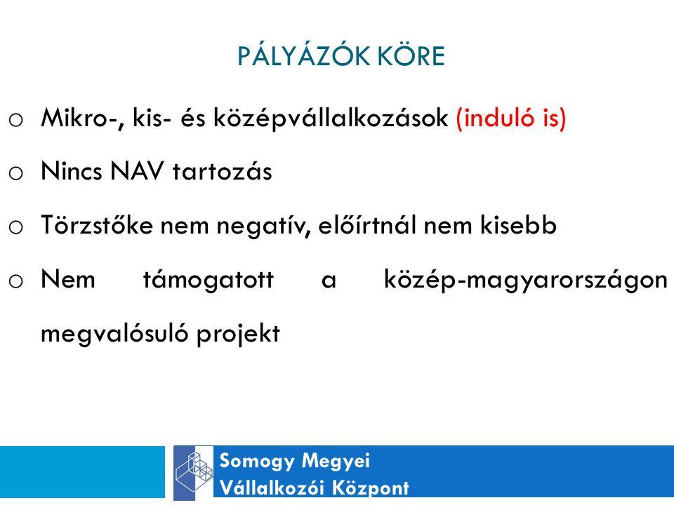 PÁLYÁZÓK KÖRE Somogy Megyei Vállalkozói Központ o Mikro-, kis- és középvállalkozások (induló is) o Nincs NAV tartozás o Törzstőke nem negatív, előírtnál nem kisebb o Nem támogatott a közép-magyarországon megvalósuló projekt