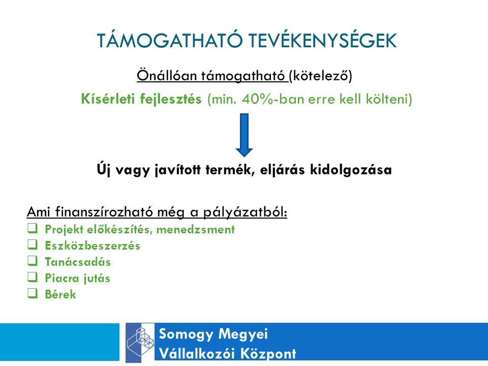 TÁMOGATHATÓ TEVÉKENYSÉGEK Somogy Megyei Vállalkozói Központ Önállóan támogatható (kötelező) Kísérleti fejlesztés (min.