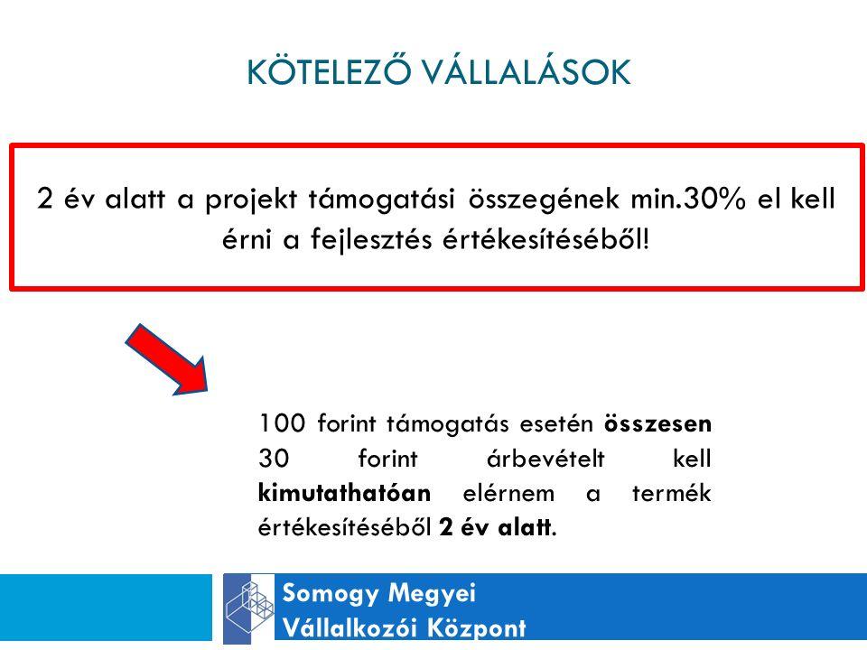 KÖTELEZŐ VÁLLALÁSOK Somogy Megyei Vállalkozói Központ 2 év alatt a projekt támogatási összegének min.30% el kell érni a fejlesztés értékesítéséből.