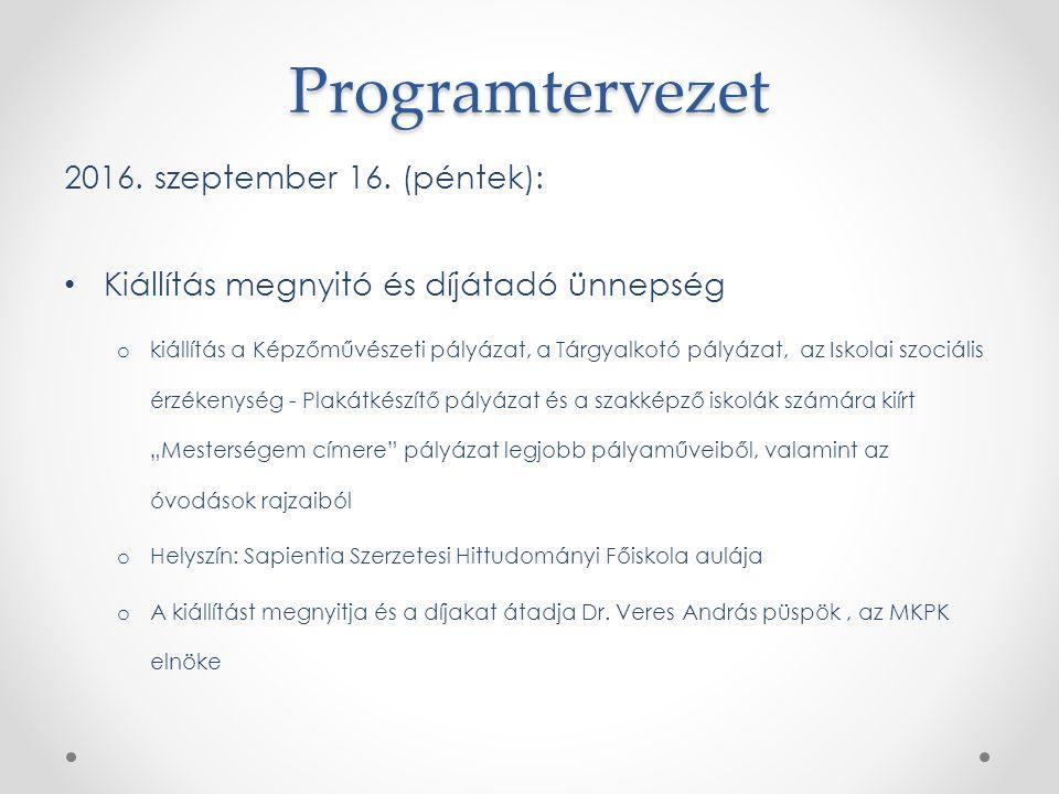 Programtervezet 2016. szeptember 16.