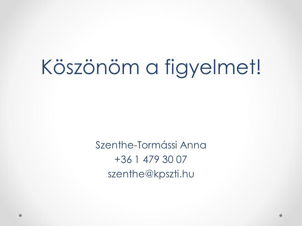 Köszönöm a figyelmet! Szenthe-Tormássi Anna +36 1 479 30 07 szenthe@kpszti.hu
