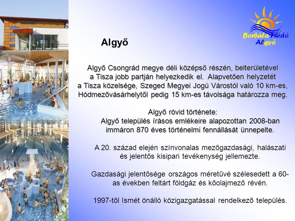 Algyő Csongrád megye déli középső részén, belterületével a Tisza jobb partján helyezkedik el. Alapvetően helyzetét a Tisza közelsége, Szeged Megyei Jo
