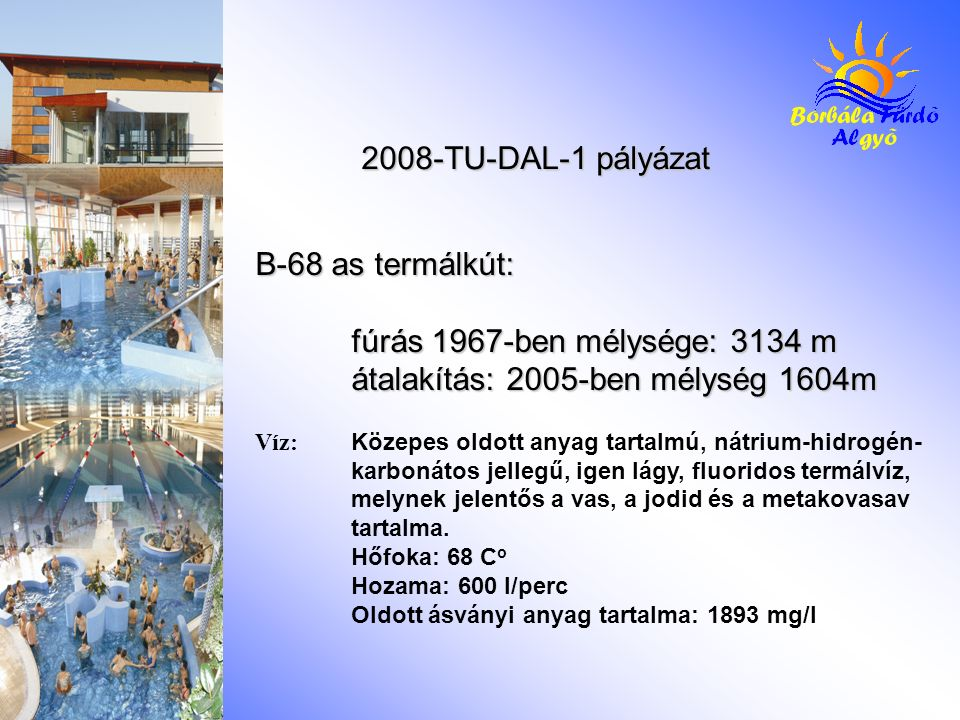 B-68 as termálkút: fúrás 1967-ben mélysége: 3134 m átalakítás: 2005-ben mélység 1604m Víz: Közepes oldott anyag tartalmú, nátrium-hidrogén- karbonátos jellegű, igen lágy, fluoridos termálvíz, melynek jelentős a vas, a jodid és a metakovasav tartalma.