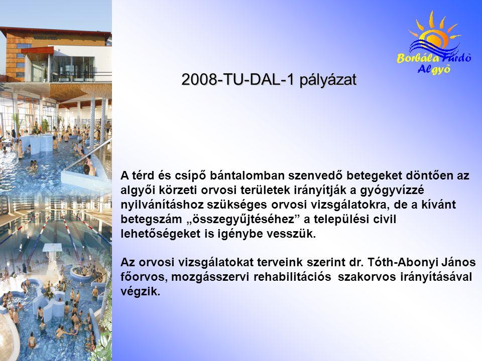 2008-TU-DAL-1 pályázat A térd és csípő bántalomban szenvedő betegeket döntően az algyői körzeti orvosi területek irányítják a gyógyvízzé nyilvánításho