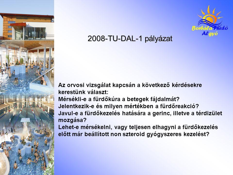 2008-TU-DAL-1 pályázat Az orvosi vizsgálat kapcsán a következő kérdésekre kerestünk választ: Mérsékli-e a fürdőkúra a betegek fájdalmát? Jelentkezik-e