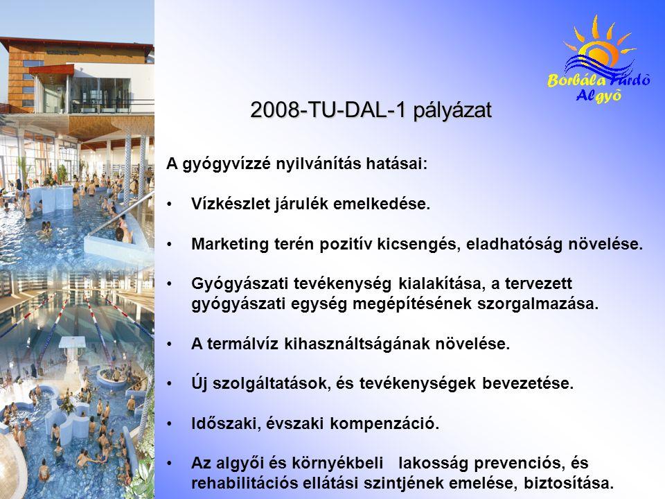 2008-TU-DAL-1 pályázat A gyógyvízzé nyilvánítás hatásai: Vízkészlet járulék emelkedése. Marketing terén pozitív kicsengés, eladhatóság növelése. Gyógy