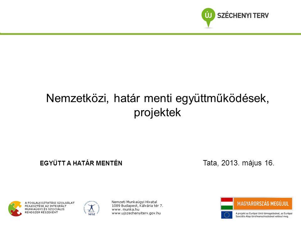 Nemzetközi, határ menti együttműködések, projektek EGYÜTT A HATÁR MENTÉN Tata, 2013. május 16.
