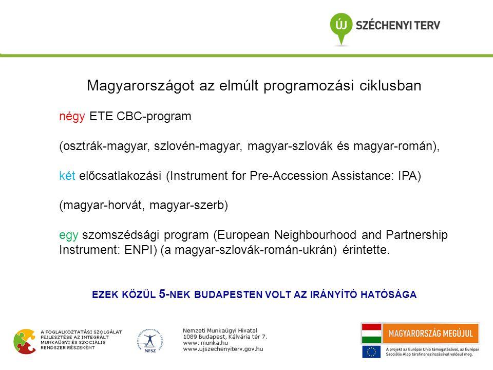 Magyarországot az elmúlt programozási ciklusban négy ETE CBC-program (osztrák-magyar, szlovén-magyar, magyar-szlovák és magyar-román), két előcsatlako
