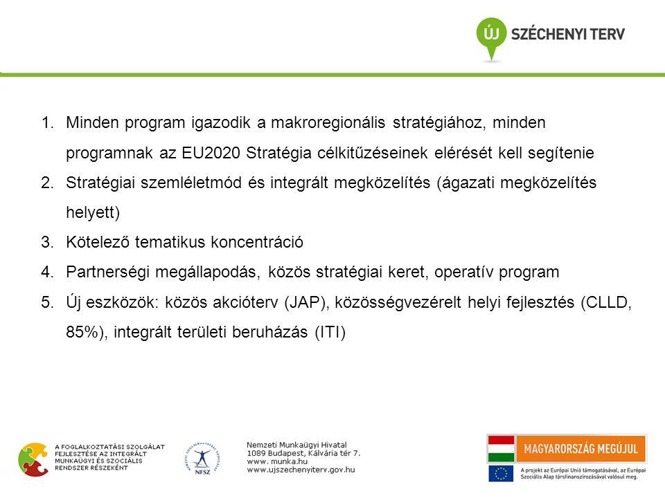 1.Minden program igazodik a makroregionális stratégiához, minden programnak az EU2020 Stratégia célkitűzéseinek elérését kell segítenie 2.Stratégiai szemléletmód és integrált megközelítés (ágazati megközelítés helyett) 3.Kötelező tematikus koncentráció 4.Partnerségi megállapodás, közös stratégiai keret, operatív program 5.Új eszközök: közös akcióterv (JAP), közösségvezérelt helyi fejlesztés (CLLD, 85%), integrált területi beruházás (ITI)