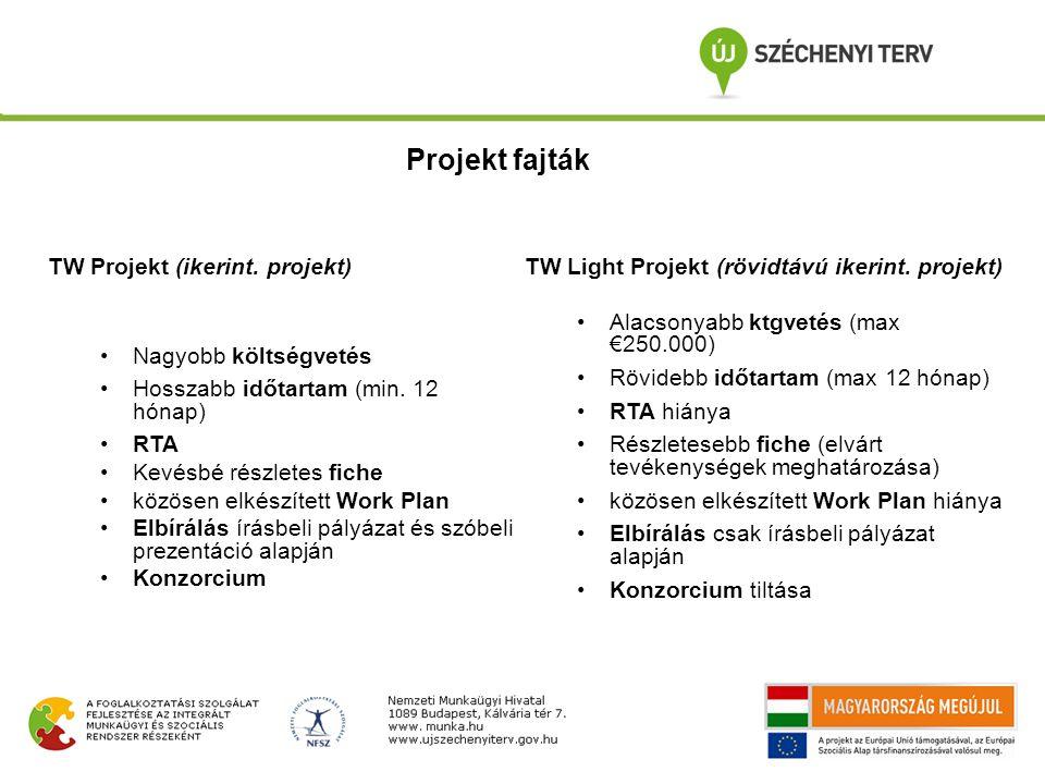 TW Projekt (ikerint. projekt) Nagyobb költségvetés Hosszabb időtartam (min. 12 hónap) RTA Kevésbé részletes fiche közösen elkészített Work Plan Elbírá