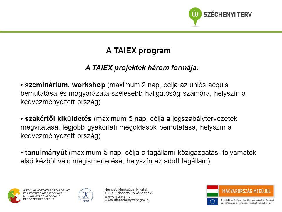A TAIEX projektek három formája: szeminárium, workshop (maximum 2 nap, célja az uniós acquis bemutatása és magyarázata szélesebb hallgatóság számára, helyszín a kedvezményezett ország) szakértői kiküldetés (maximum 5 nap, célja a jogszabálytervezetek megvitatása, legjobb gyakorlati megoldások bemutatása, helyszín a kedvezményezett ország) tanulmányút (maximum 5 nap, célja a tagállami közigazgatási folyamatok első kézből való megismertetése, helyszín az adott tagállam) A TAIEX program