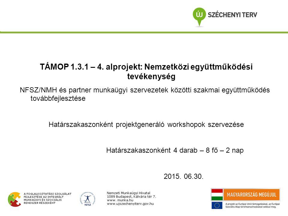 TÁMOP 1.3.1 – 4. alprojekt: Nemzetközi együttműködési tevékenység NFSZ/NMH és partner munkaügyi szervezetek közötti szakmai együttműködés továbbfejles