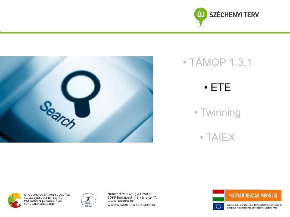 TÁMOP 1.3.1 ETE Twinning TAIEX