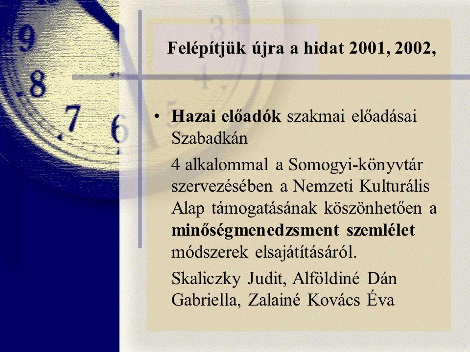 Felépítjük újra a hidat 2001, 2002, Hazai előadók szakmai előadásai Szabadkán 4 alkalommal a Somogyi-könyvtár szervezésében a Nemzeti Kulturális Alap támogatásának köszönhetően a minőségmenedzsment szemlélet módszerek elsajátításáról.