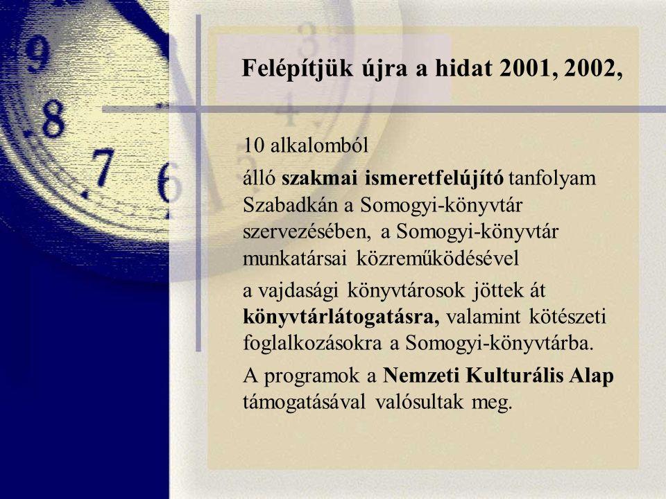Felépítjük újra a hidat 2001, 2002, 10 alkalomból álló szakmai ismeretfelújító tanfolyam Szabadkán a Somogyi-könyvtár szervezésében, a Somogyi-könyvtár munkatársai közreműködésével a vajdasági könyvtárosok jöttek át könyvtárlátogatásra, valamint kötészeti foglalkozásokra a Somogyi-könyvtárba.