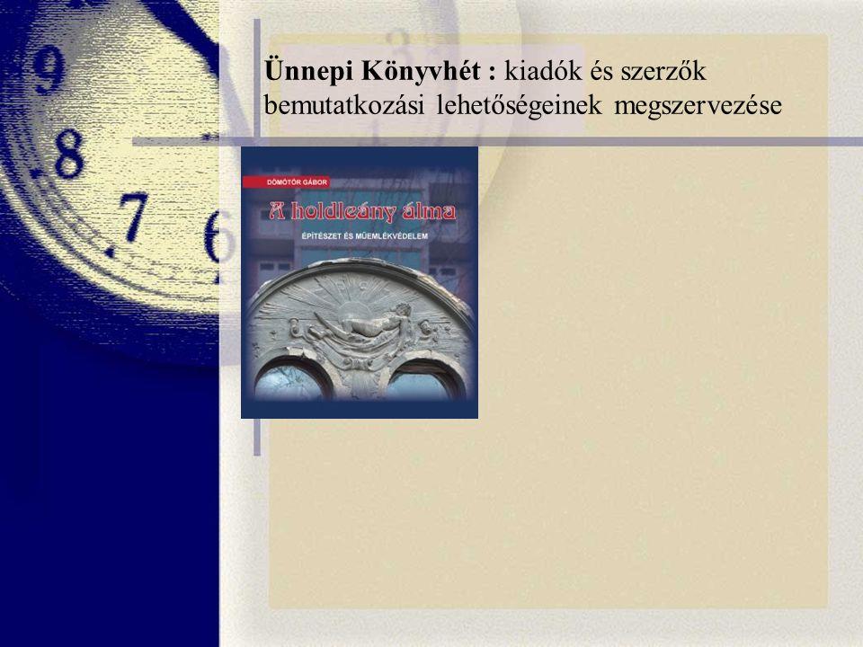 Ünnepi Könyvhét : kiadók és szerzők bemutatkozási lehetőségeinek megszervezése