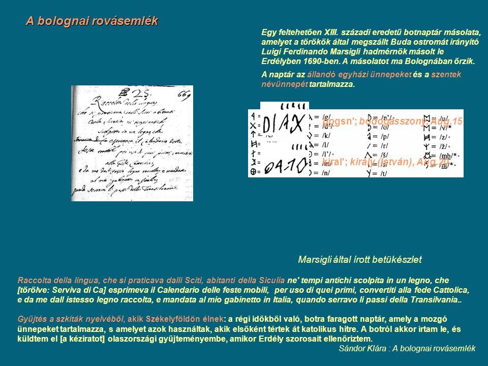 A bolognai rovásemlék Raccolta della lingua, che si praticava dalli Sciti, abitanti della Siculia ne' tempi antichi scolpita in un legno, che [törölve