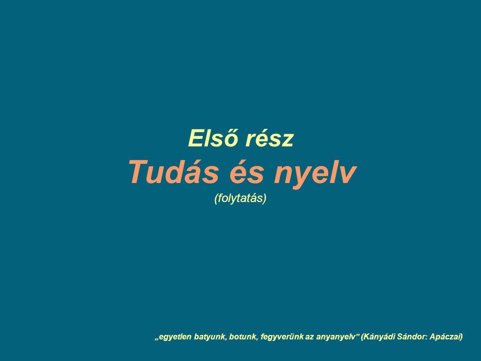 """Első rész Tudás és nyelv (folytatás) """"egyetlen batyunk, botunk, fegyverünk az anyanyelv"""" (Kányádi Sándor: Apáczai)"""
