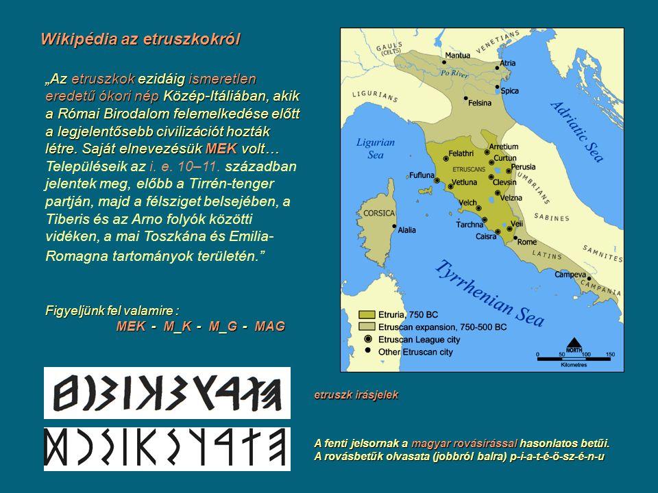 """Wikipédia az etruszkokról """"Az etruszkok ezidáig ismeretlen eredetű ókori nép Közép-Itáliában, akik a Római Birodalom felemelkedése előtt a legjelentős"""