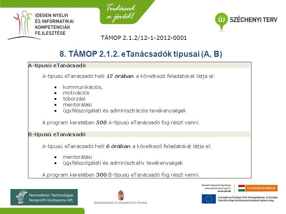 TÁMOP 2.1.2/12-1-2012-0001 8. TÁMOP 2.1.2. eTanácsadók típusai (A, B)